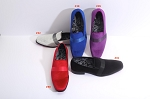 COUTURE 1910 PURPLE VELVET SLIP ON FORMAL SHOES W/ SATIN BAND