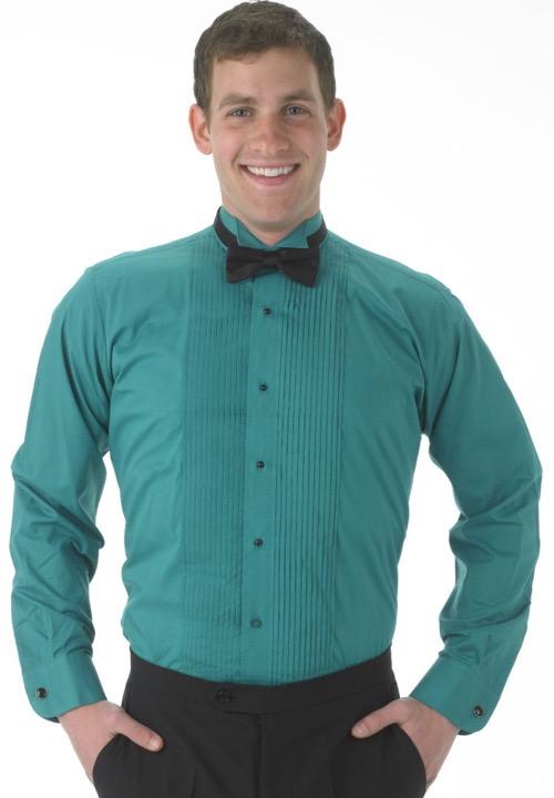 92c15ff44da78d ... segal martino teal 1 4 pleat wing collar tuxedo shirt men s ...