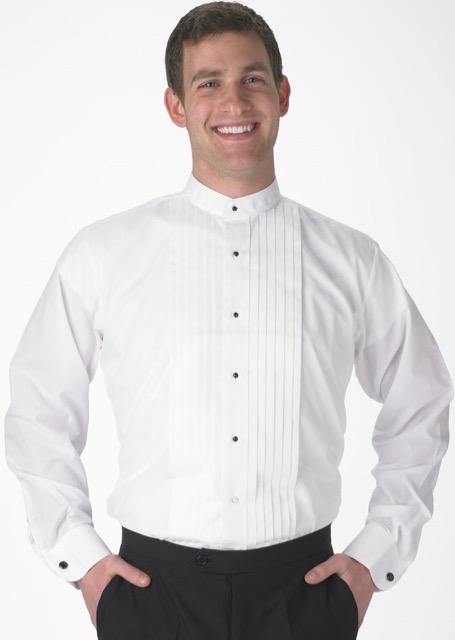 80c217bea7dd0d ... segal martino white 1 2 pleat band collar tuxedo shirt ...