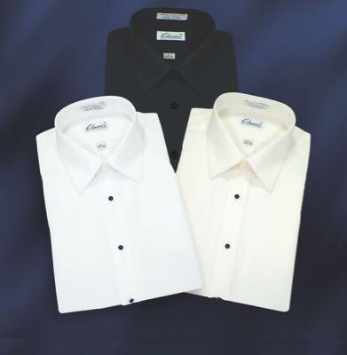 NEW Microfiber Ivory Tuxedo Shirt /'Laydown Collar/' Non pleat