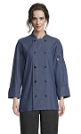 CHAMBRAY COTTON CHEF COAT W/ 10 BLACK BUTTONS