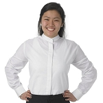 SEGAL BANDED COLLAR WOMEN'S WHITE DRESS SHIRT
