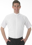 SHORT SLEEVE BANDED COLLAR MEN'S WHITE DRESS SHIRT