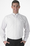 SEGAL WHITE BANDED COLLAR MEN'S DRESS SHIRT w/ BLACK TRIMMED EDGE - CLOSEOUT