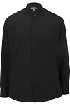 EDWARDS BANDED COLLAR MEN'S BLACK DRESS SHIRT