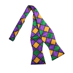 MARDI GRAS WINDOW PANE TIE TO TIE SELF BOW TIE