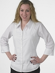 FITTED V-NECK WOMEN'S WHITE DRESS SHIRT