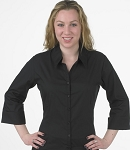 FITTED V-NECK WOMEN'S BLACK DRESS SHIRT