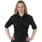 SEGAL SHORT SLEEVE WOMEN'S BLACK DRESS SHIRT