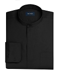 NEIL ALLYN BANDED COLLAR MEN'S BLACK DRESS SHIRT