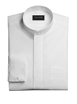 NEIL ALLYN BANDED COLLAR MEN'S WHITE DRESS SHIRT