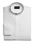 NEIL ALLYN BANDED COLLAR MEN'S WHITE DRESS SHIRT w/ BLACK TRIM