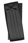 SILK BLACK CUMMERBUND AND BOW TIE SET