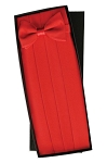 SILK RED CUMMERBUND AND BOW TIE SET