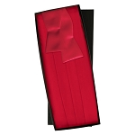 SILK SELF TIE RED CUMMERBUND AND BOW TIE SET