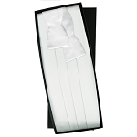 SILK SELF TIE WHITE CUMMERBUND AND BOW TIE SET