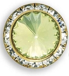 AUSTRIAN CRYSTAL SURROUND BUTTON COVER W/ LT YELLOW DIAMOND TIP CENTER