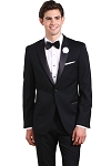 NEIL ALLYN BLACK COMFORT POLYESTER PEAK TUXEDO w/ ADJUSTABLE WAIST PANTS