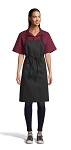 BLACK MID-LENGTH BIB APRON - NO POCKETS