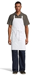 WHITE MID-LENGTH BIB APRON - NO POCKETS