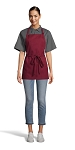 BURGUNDY ADJUSTABLE BIB APRON - 3 POCKETS