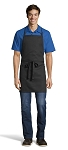 BLACK ADJUSTABLE BIB APRON - 2 POCKETS