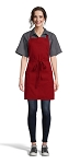 RED ADJUSTABLE BIB APRON - 2 POCKETS
