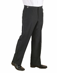 KYLE THOMAS BLACK POLYESTER FLAT FRONT ADJUSTABLE TUXEDO PANTS
