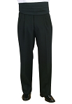 SEGAL BLACK DURAWEAR PLEATED FRONT TUXEDO PANTS - FLEX WAIST CLOSEOUT