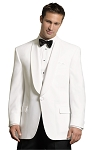 NEIL ALLYN WHITE POLYESTER SHAWL DINNER JACKET PACKAGE w/ BLACK FLEX WAIST PANTS