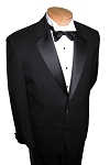 MANTONI BLACK WOOL 2 BUTTON NOTCH LAPEL TUXEDO JACKET & PANTS SET