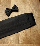 NEIL ALLYN BLACK PREMIUM SATIN CUMMERBUND & BOW TIE SET