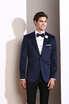SLIM FIT TRIMMED PEAK NAVY BLUE VELVET TUXEDO JACKET