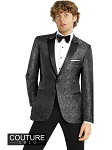 "SLIM FIT ""CHASE"" CHARCOAL PAISLEY TUXEDO JACKET"
