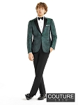 "SLIM FIT ""CHASE"" HUNTER GREEN PAISLEY TUXEDO JACKET"
