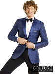 "SLIM FIT ""CHASE"" NAVY BLUE PAISLEY TUXEDO JACKET w/ NAVY LAPEL"