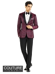 "SLIM FIT ""CHASE"" BURGUNDY PAISLEY TUXEDO JACKET"