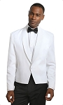 NEIL ALLYN WHITE ONE BUTTON SHAWL LAPEL POLYESTER ETON JACKET - MEN'S