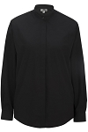 EDWARDS BANDED COLLAR WOMEN'S BLACK DRESS SHIRT