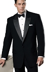 NEIL ALLYN BLACK WOOL 1 BUTTON PEAK LAPEL TUXEDO JACKET - MEN'S