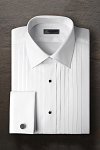 IKE BEHAR COTTON PLEATED LAYDOWN MEN'S TUXEDO SHIRT