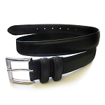 BLACK DOUBLE LOOP LEATHER DRESS BELT