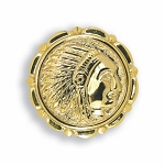 GOLD TONE INDIAN HEAD BUTTON COVER