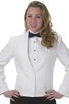 SEGAL WHITE 3 BUTTON ETON JACKET w/ SELF LAPEL - WOMEN'S