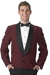 SEGAL BURGUNDY 3 BUTTON ETON JACKET - MEN'S