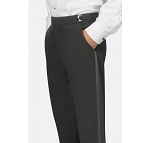 IKE BEHAR BLACK FLAT FRONT 120's WOOL TUXEDO PANTS - SLIM FIT
