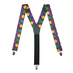 MARDI GRAS WINDOW PANE CLIP-ON SUSPENDERS