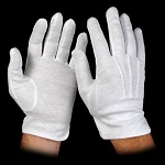WHITE COTTON GLOVES W/ SUREGRIP (12 PAIRS)