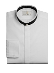 NEIL ALLYN WHITE BANDED COLLAR MEN'S TUXEDO SHIRT w/ BLACK COLLAR