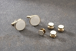 NEIL ALLYN ANTIQUE WHITE IN GOLD SETTING STUDS & CUFFLINKS SET